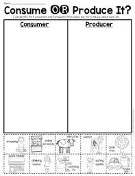 consumer or producer sort sheet economics first grade