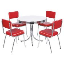 Red Dining Room Chair Rydell Dining Table And 4 Chair Set Red Tesco Direct Diner