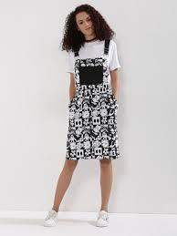 buy disney x koovs grid printed denim dungaree pinafore dress for