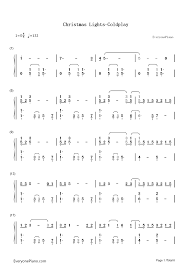 christmas lights coldplay numbered musical notation preview 1