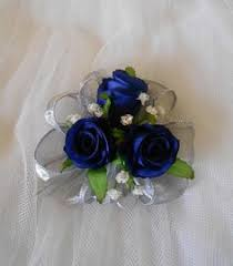 Corsage And Boutonniere For Prom Light Blue Corsages And Royal Blue Boutonnieres With Silver
