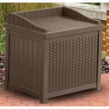 suncast resin wicker 22 gallon deck box 202213 patio storage