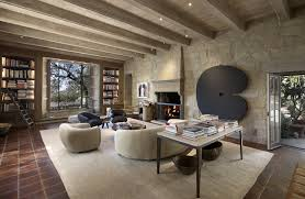 a fireplace anchors the library ellen degeneres montecito estate