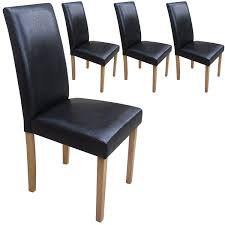 Black Dining Chairs Set Of 4 Faux Leather Torino Dining Chairs Black With Padded Seat