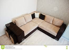 Light Sofa Bed Bicolor Cofee Corner Sofa Bed At Light Room Stock Photo Image