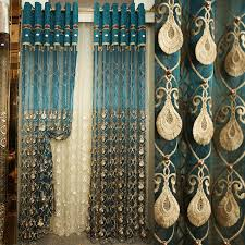 Peacock Curtains Luxury Embossed Embroidered Yarn Peacock Blue Sheer Curtain