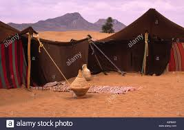 desert tent bedouin tent in desert morocco set up for tourists in