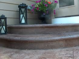 Backyard Stamped Concrete Patio Ideas by Stamped Concrete Patio With Steps Random Stone Pattern