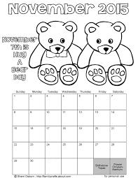 printable november 2015 bear coloring calendar holiday favorites