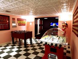 game room with peach wall colors and checkerboard floors good