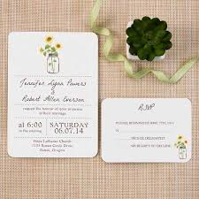 Rustic Invitations Rustic Ticket Shape Wedding Invitations With Sunflower Mason Jars
