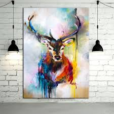hand painted color deer animals oil painting hang paintings 100