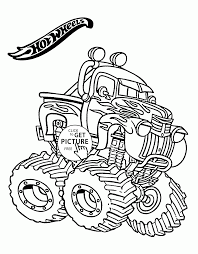 wheels monster truck coloring page for kids transportation