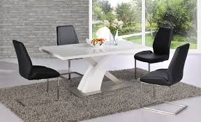 White Dining Table With Black Chairs White High Gloss Dining Table Set And 6 Black Chairs Homegenies