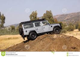 land rover silver silver land rover defender 110 sw on 4x4 course editorial stock