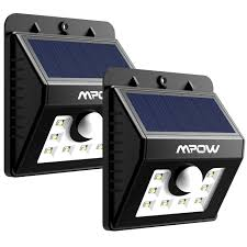 super solar powered motion sensor lights mpow super bright 8 led solar powered wireless security light