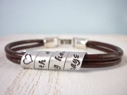 s day bracelet personalized secret message quote leather bracelet with metal