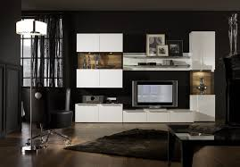 picturesque wall unit living room design with white storage of
