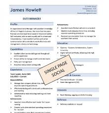 1 page resume template one page resume template template business