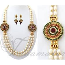 long chain necklace designs images Indian design side pendant pearl strand necklace long chain kodi jpg