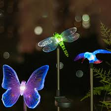 led solar light outdoor dragonfly butterfly bird type solar l