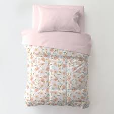 pink hawaiian floral toddler bed pillow case with pillow
