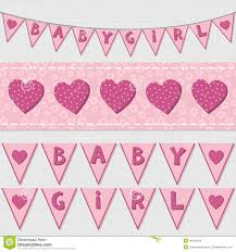 pink baby shower birthday flags and ribbon bunting set stock