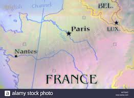 Nantes France Map by Close Up Map Of The Country France Located In Europe Stock Photo