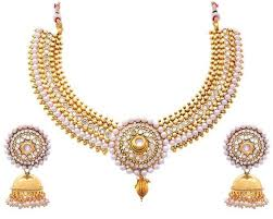 stone necklace set designs images Jfl gold plated stone white pearl designer necklace set diamonds jpg