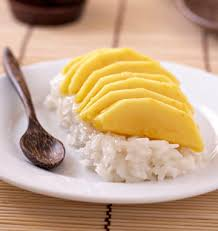 cuisiner la mangue mango sticky rice pudding riz gluant au lait de coco et mangue