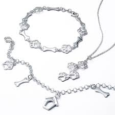 dog necklace silver images 925 sterling silver dog bone jewelry bracelet animal paw print jpg