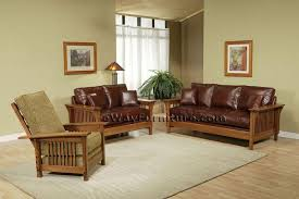 american made mission style rift and quarter sawn oak leather sofa