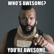 You Are Awesome Meme - who s awesome you re awesome mr t meme generator