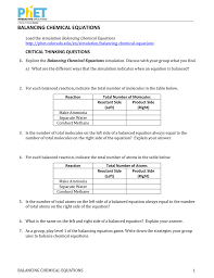 balancing chemical equations worksheet answers 110 questions