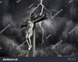 photocomposition jesus christ dying on cross stock photo 225523609