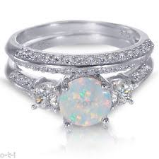 opal wedding ring sets opal sterling silver engagement wedding jewelry ebay