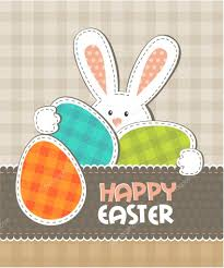 greeting card easter bunny with colored eggs u2014 stock vector