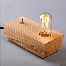loft edison bulbs wooden shade handmade wood led table l