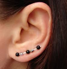 clear earrings ear pins black onyx faceted clear vitriol