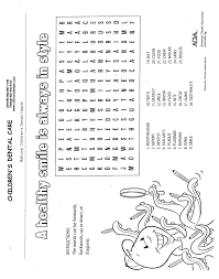 activity sheets children u0027s dental care