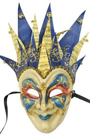 jester masquerade mask jester musica paper mache mask blue blue purecostumes