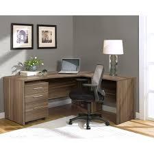 modern walnut l shaped desk with mobile pedestal u2013 officedesk com