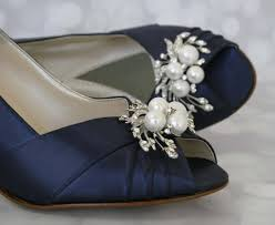 wedding shoes toe navy blue peep toe wedding shoes with pearl and rhinestone
