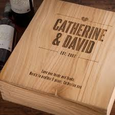 engraved wooden gifts personalised 3 bottle wooden wine box established