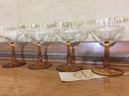 retro martini glass 4 1920s retro champagne glasses with amber stems and pretty gold