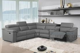 Modern Leather Sofa Furniture Modern Leather Reclining Sectional Grey And