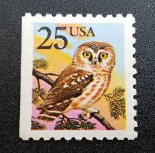 owl item ten 10 vintage unused postage stamps owl 25 cent stamps