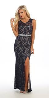 long semi formal dress lace black scoop neck rhinestone waist