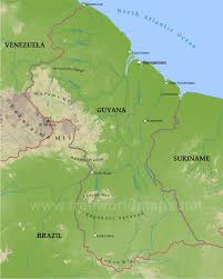 South America Physical Map by Guyana Physical Map
