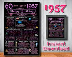 gifts for turning 60 years 1957 60th birthday sign chalk banner gift 60 years ago